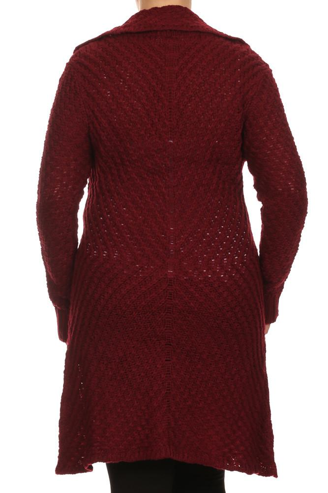 Plus Size Cozy Knit Burgundy Cardigan