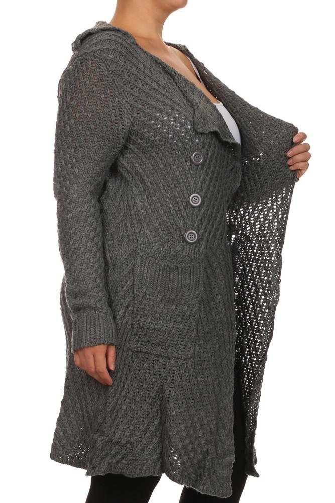 Plus Size Cozy Knit Grey Cardigan