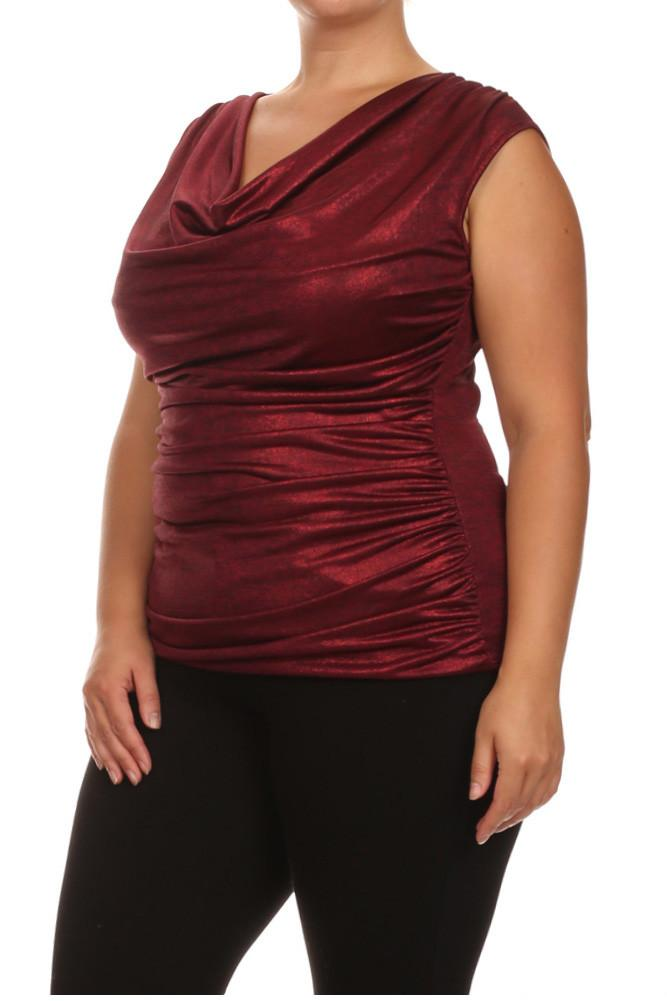 Plus Size Draped Gleaming Red Top
