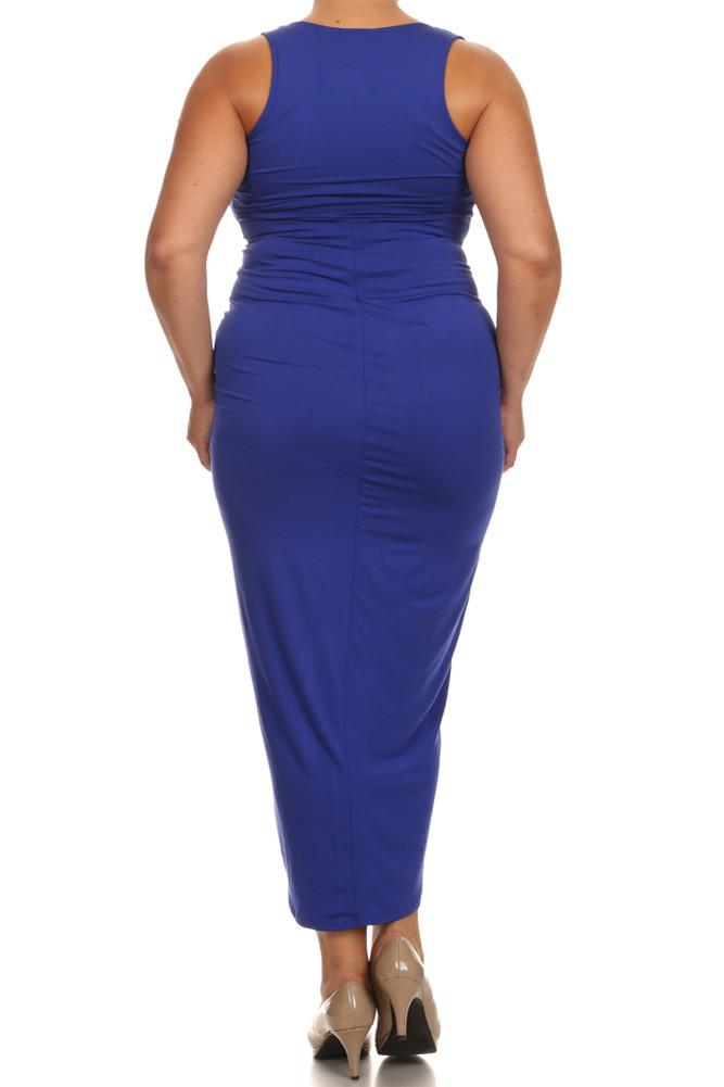 Plus Size Lovely Draped Dip Hem Blue Maxi Dress