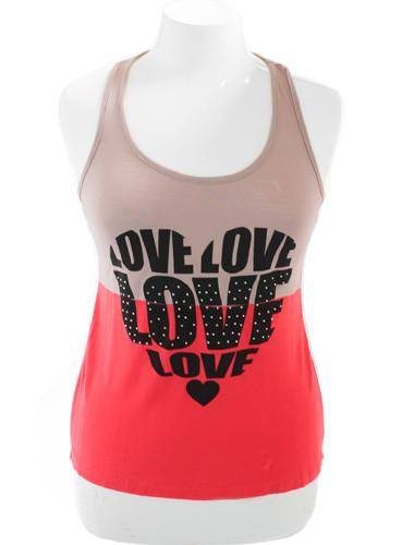 Plus Size Sexy Love Pink Tank Top