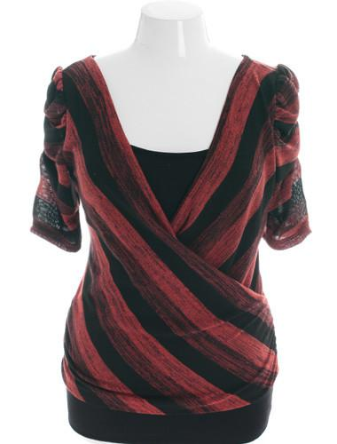 Plus Size Trendy Stripe Open Back Red Top