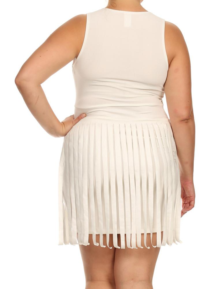 Plus Size Sway In Faux Leather Fringe Off White Dress