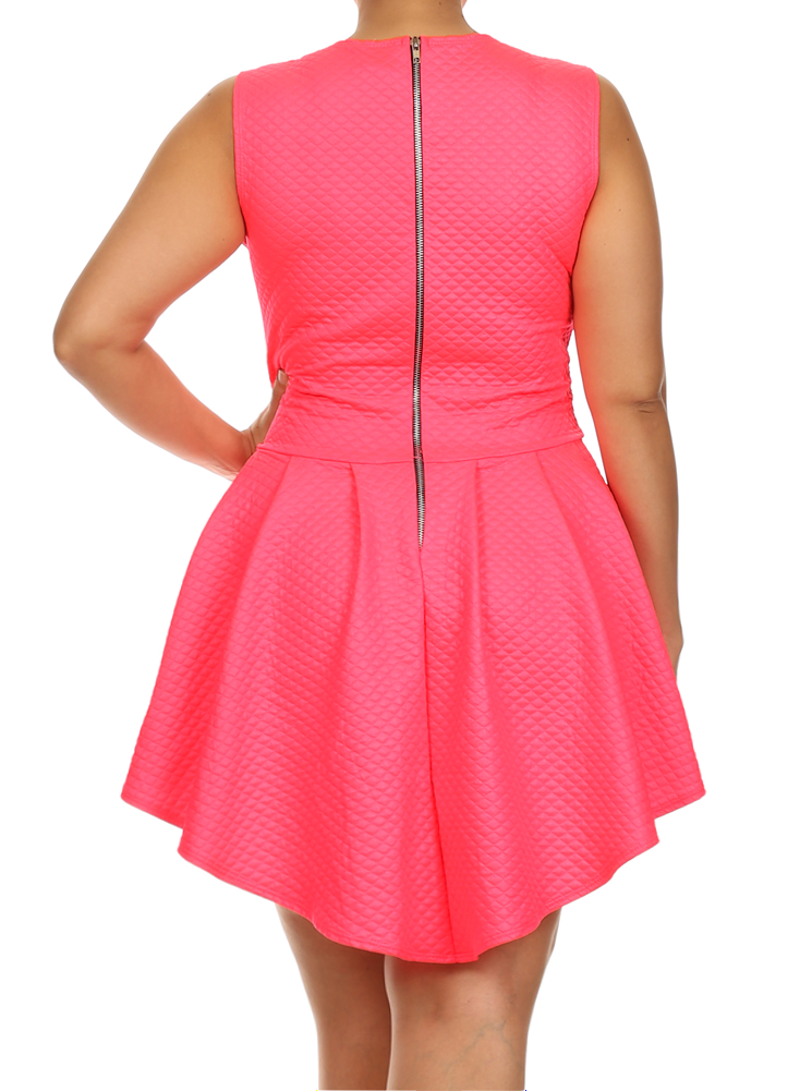 Plus Size Designer Quilted Diamond Pattern Skater Pink Dress