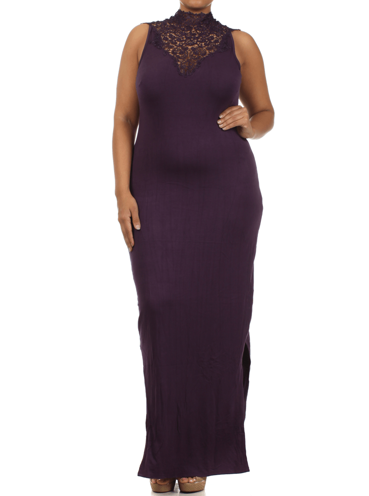 Plus Size Sunset View Crochet Lace Neckline Maxi Purple Dress