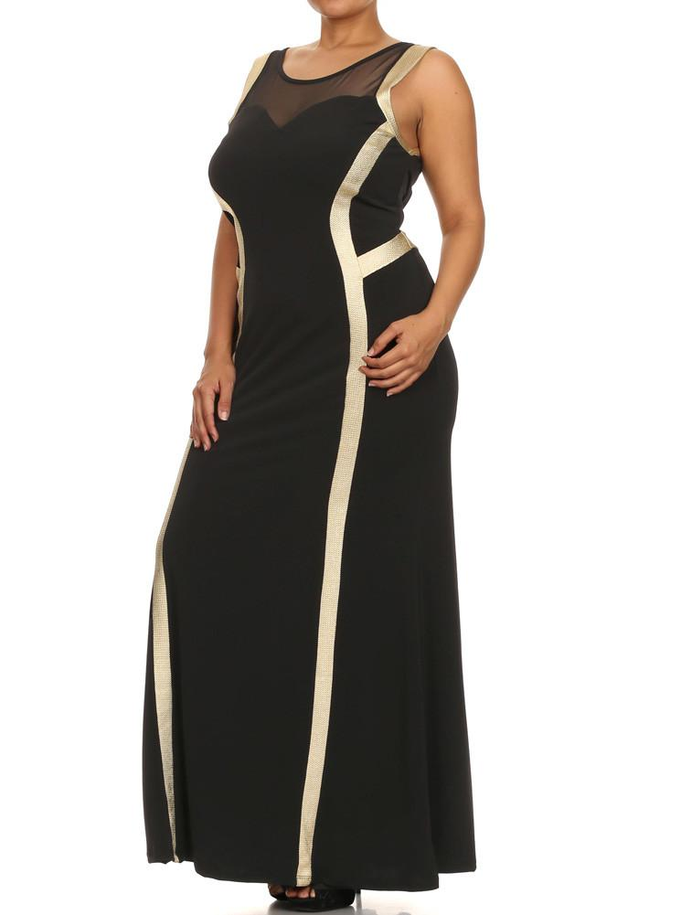 Plus Size Glam Beauty Gold Trim Maxi Dress