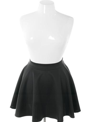 Plus Size Zip Up Flowing Black Skirt