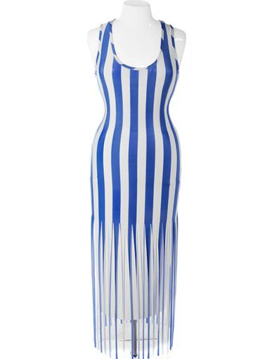 Plus Size Bold Stripe Fringe Hem Blue Dress