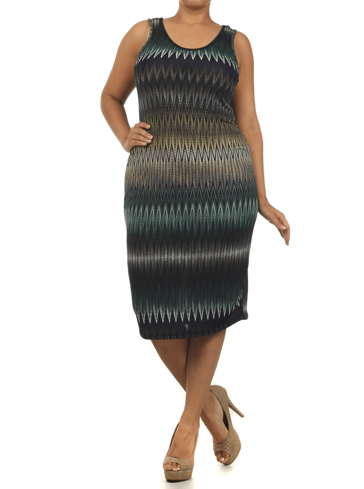 Plus Size Chic Zig Zag Green Midi Dress