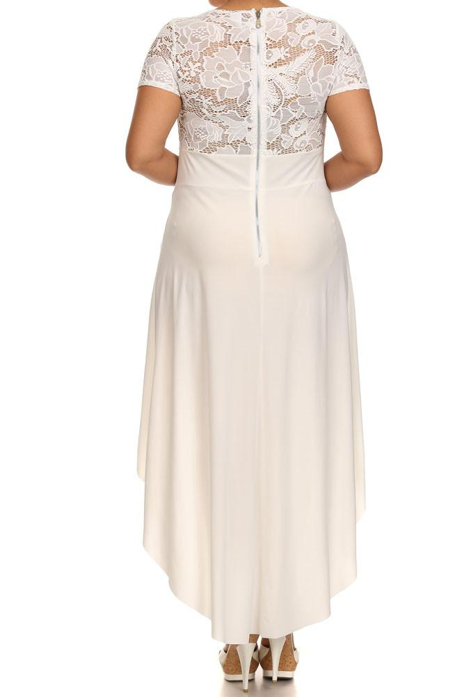 Plus Size Lovely See Through Lace Dip Hem White Dress