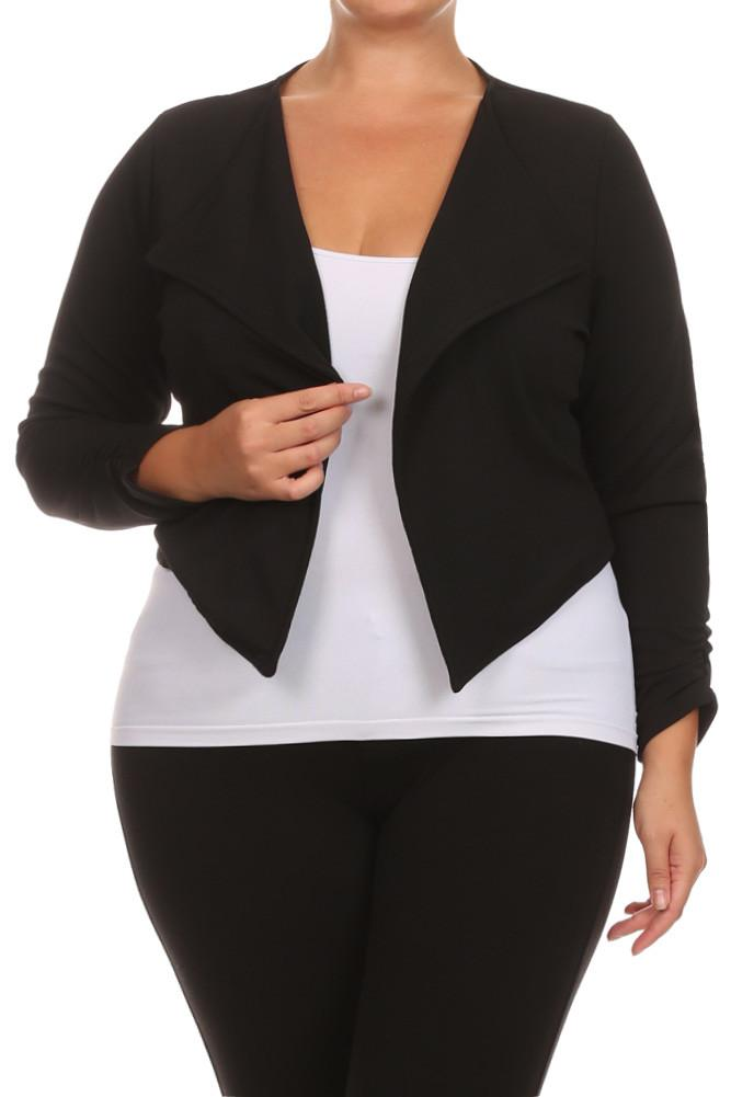 a4f647555c3 Plus Size Zippered Open Front Drapey Short Blazer