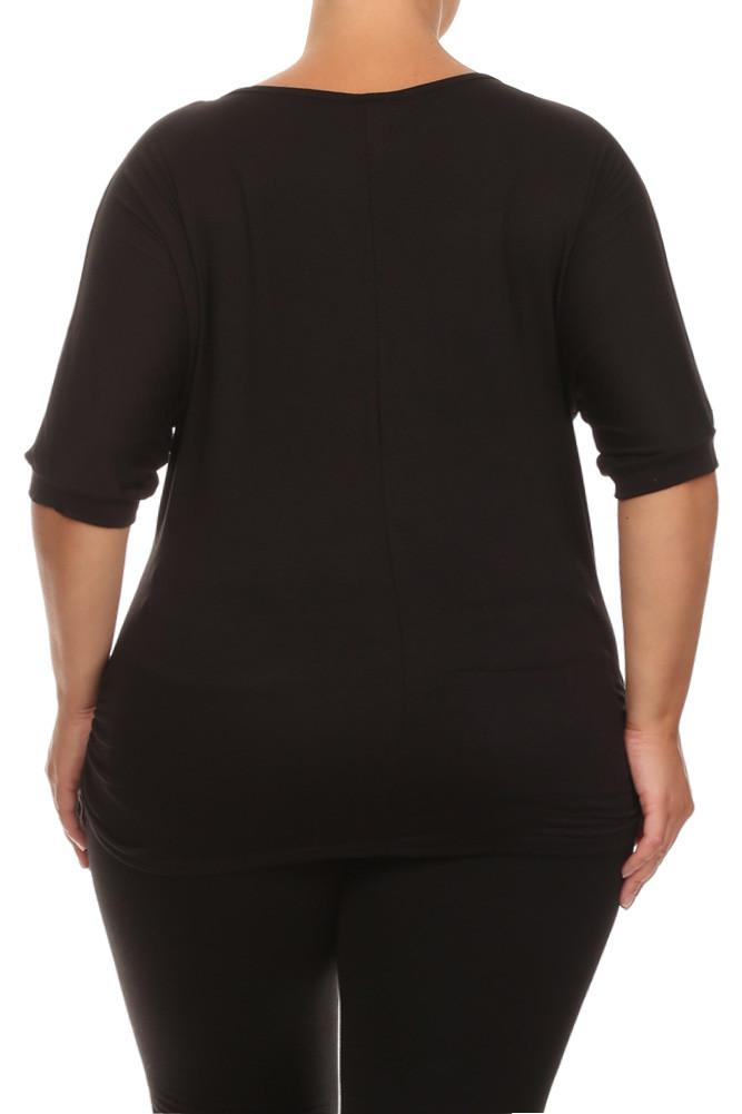 Plus Size For Peace Dolman Sleeves Graphic Top