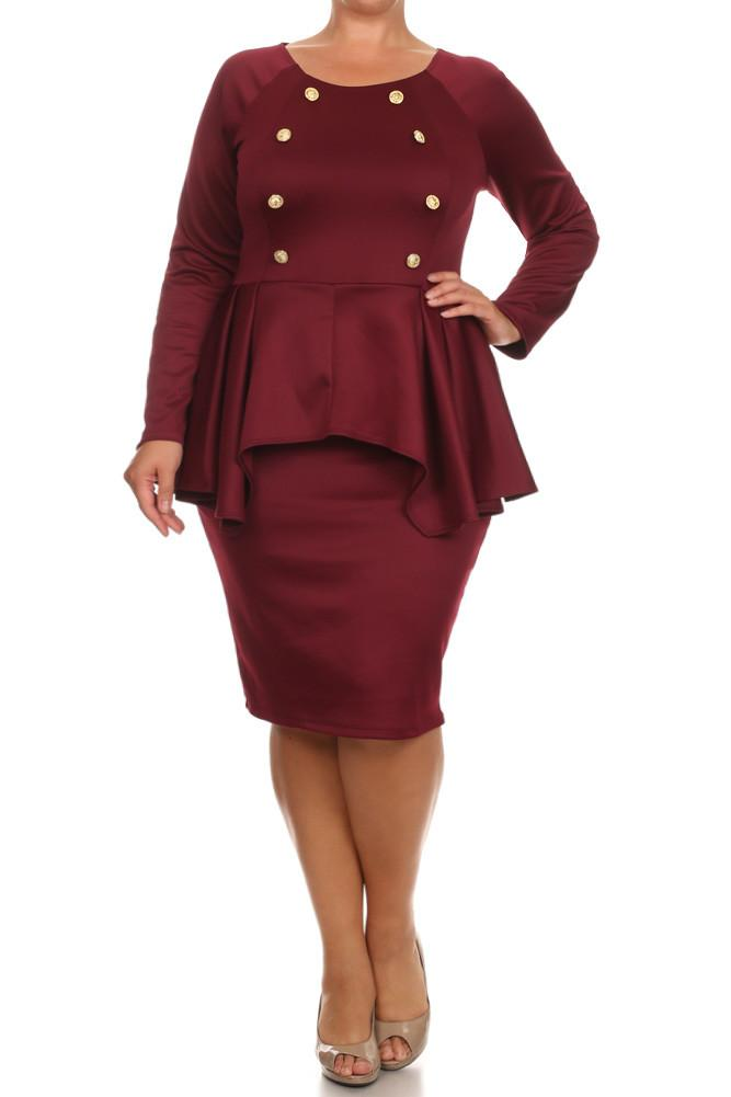 Plus Size Cadet Button Studs Peplum Midi Dress