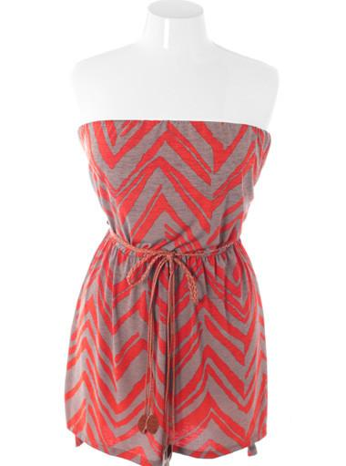 Plus Size Summer Trendy Belted Pink Tube Dress