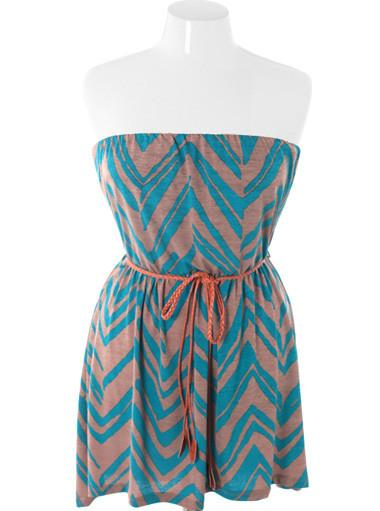 Plus Size Summer Trendy Belted Blue Tube Dress