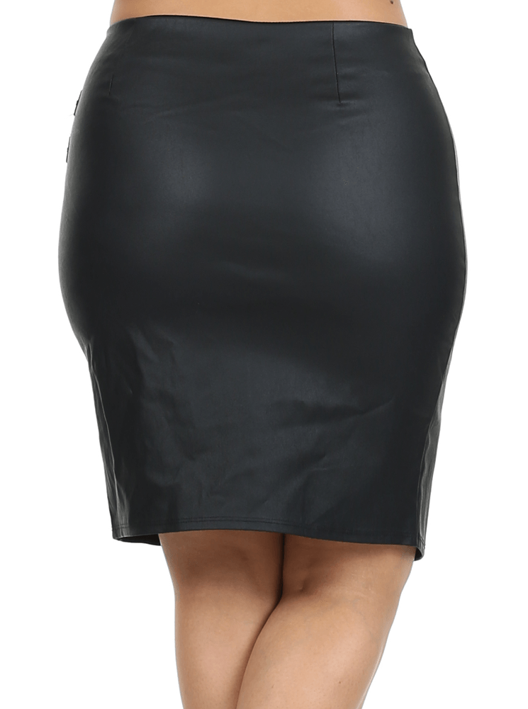 Plus Size Stylish Zipper Asymmetrical Leather Skirt