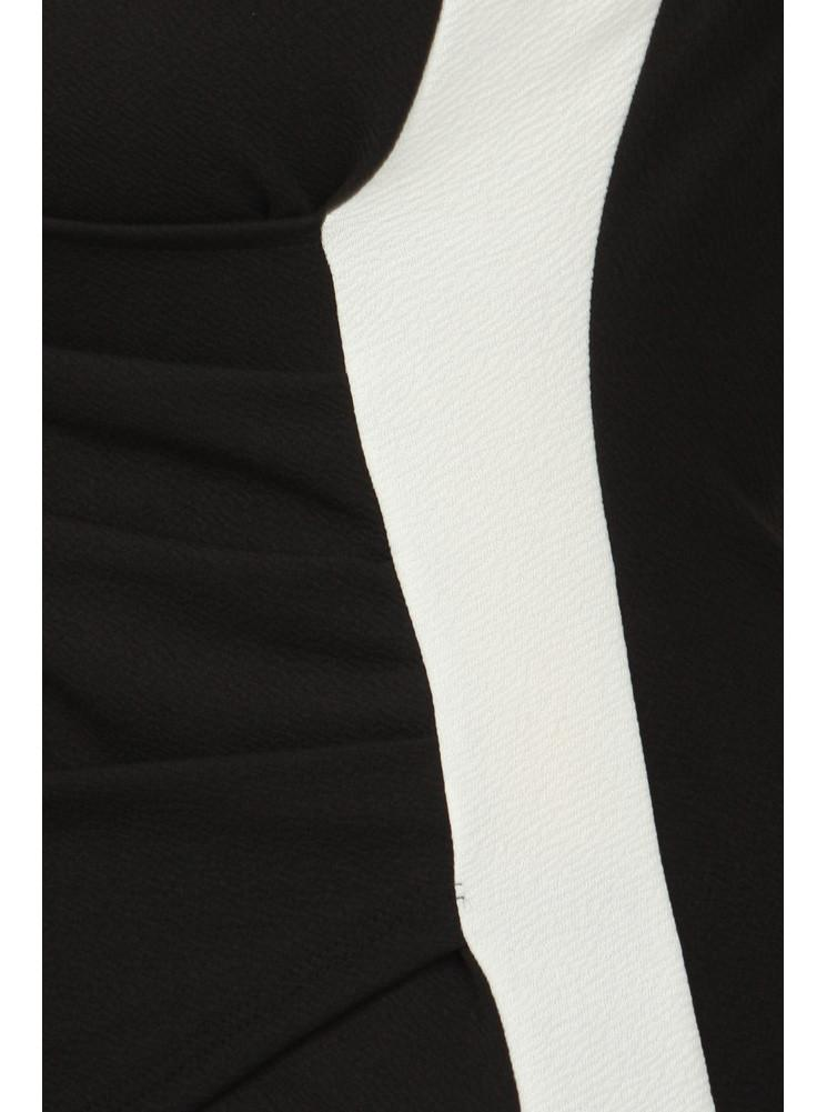 Plus Size Chic Colorblock Surplice Black Top