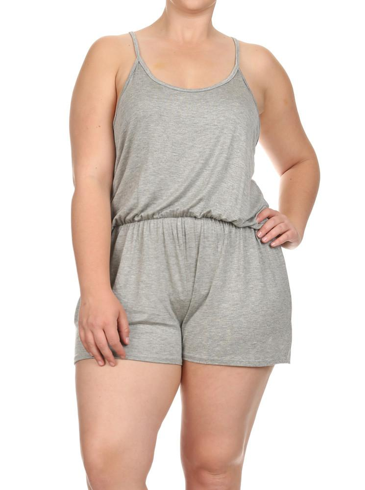 Plus Size Loving Spring Days Grey Romper