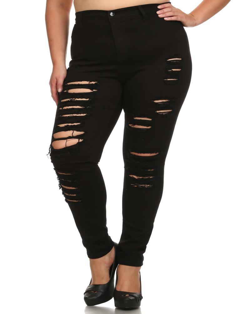 Plus Size Perfect 10 High Waist Slashed Black Jeans