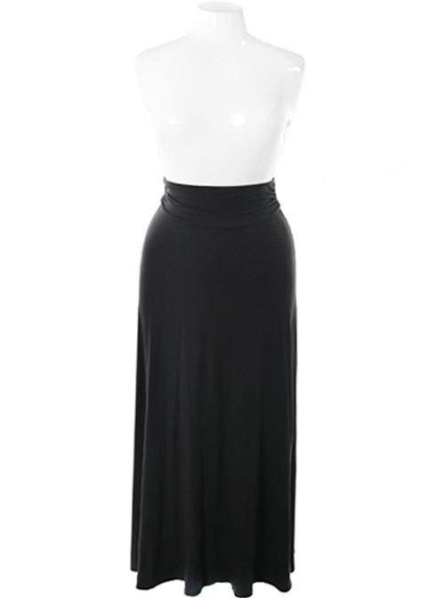 Plus Size Gorgeous Flowing Black Maxi Skirt