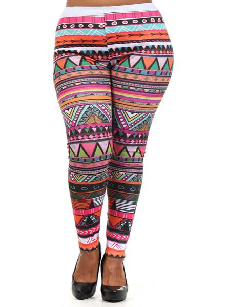Plus Size Sexy Aztec Print Leggings