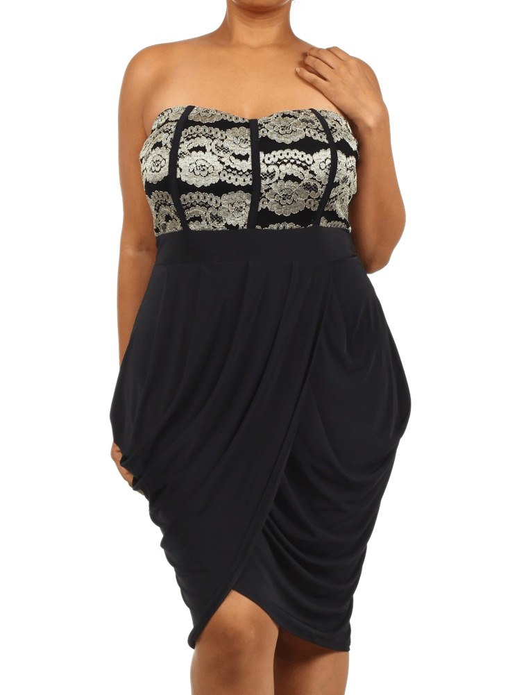 Plus Size Sweetheart Gold Lace Bubble Dress