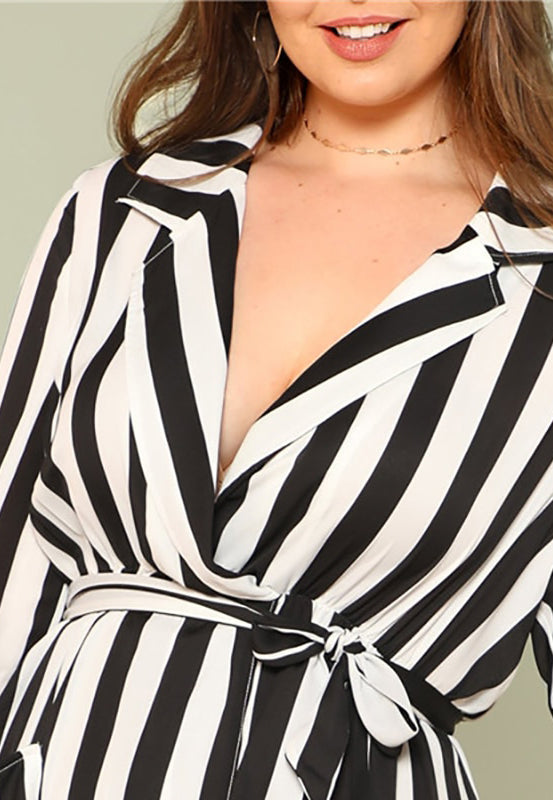 Plus Size Stripe V Neck Belted Maxi Dress