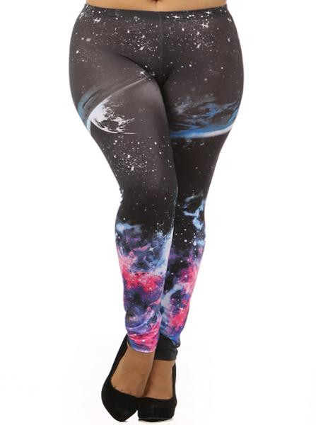 Plus Size Galaxy Print Leggings