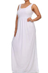 Plus Size Pier Days High Slit White Maxi Dress
