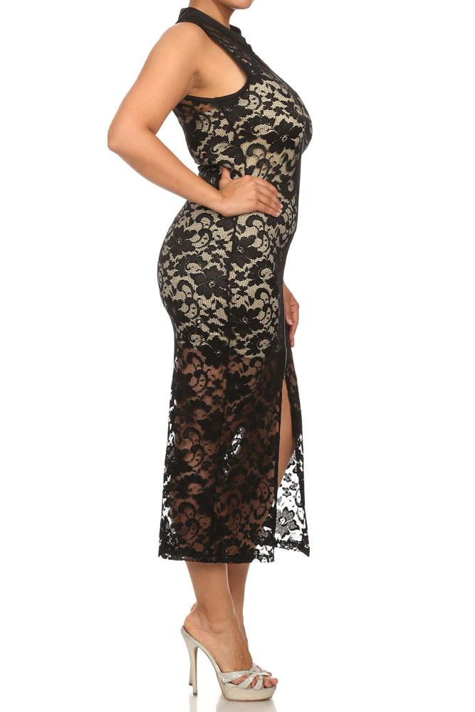 1e2ba4d3dc6 Plus Size See Through Lace Zip Up Black Dress (Inner-lining not included  with