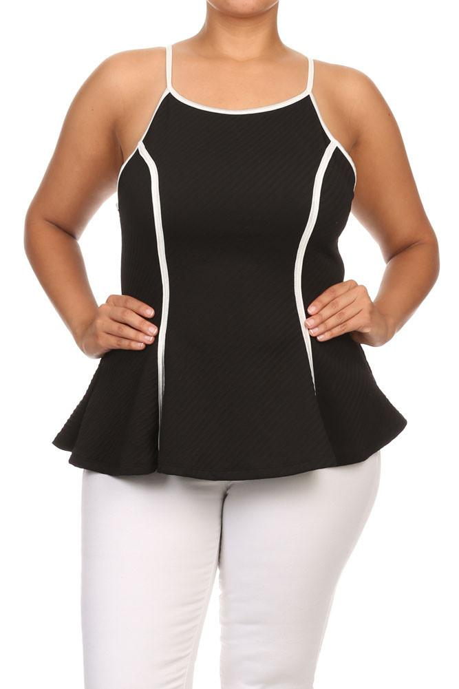 Plus Size Chic Textured Trimmed A-Line Top