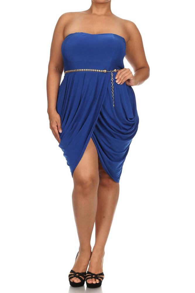 Plus Size Glamour Gilded Belt Bubble Blue Dress