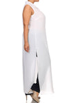 Plus Size Mod Button Up Sheer White Maxi Dress