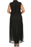 Plus Size Mod Button Up Sheer Black Maxi Dress