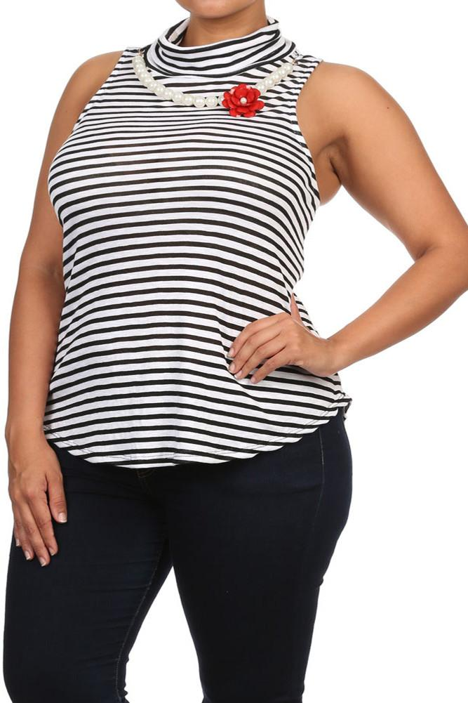 Plus Size Blossoming Striped Mock Turtle Neck top