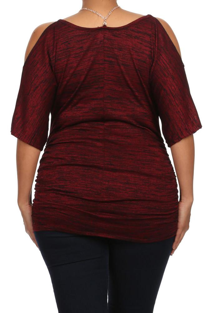 Plus Size Pretty Cut Out Shoulders Ruched Red Top