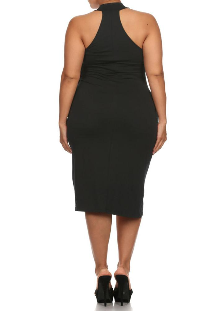Plus Size Sexy Draped Surplice Black Midi Dress