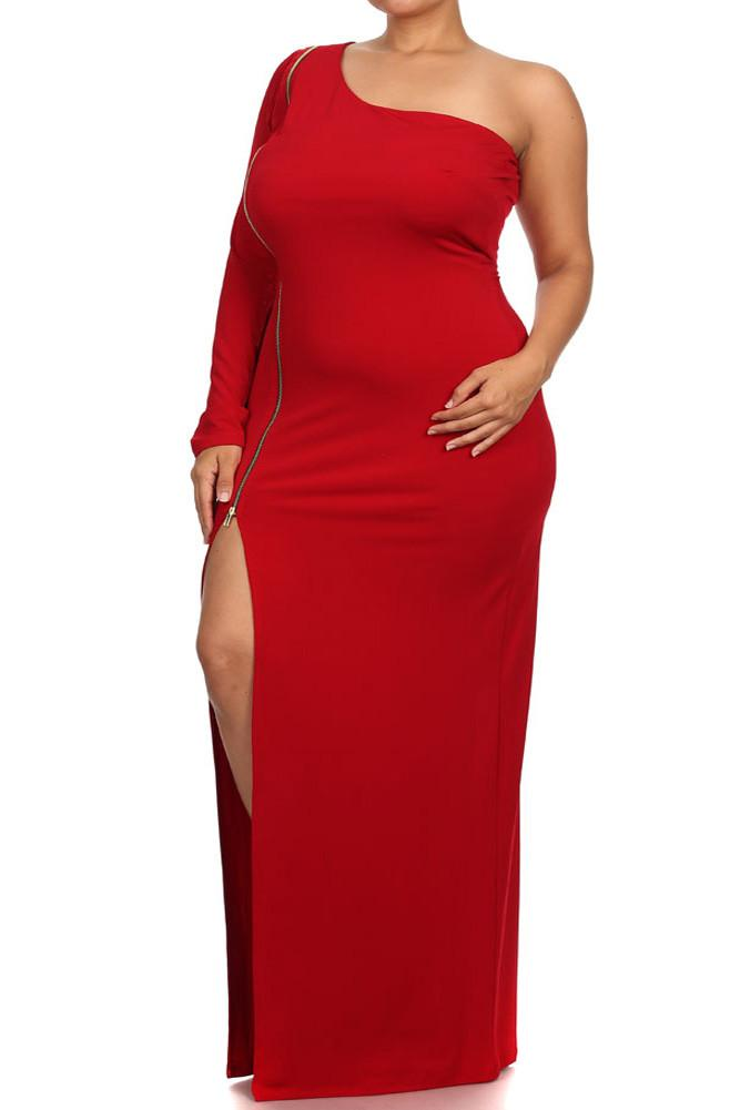 Plus Size Sexy One Sleeve Zipper Maxi Red Dress