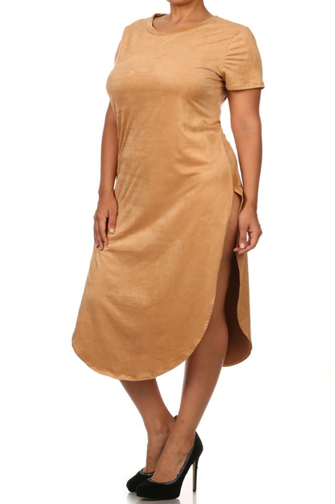 Plus Size Stylish Suede Tan Maxi Tee [SALE]