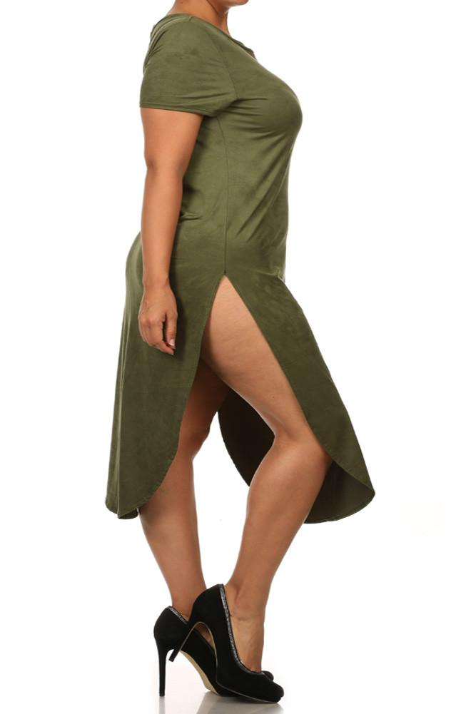 Plus Size Stylish Suede Olive Maxi Tee