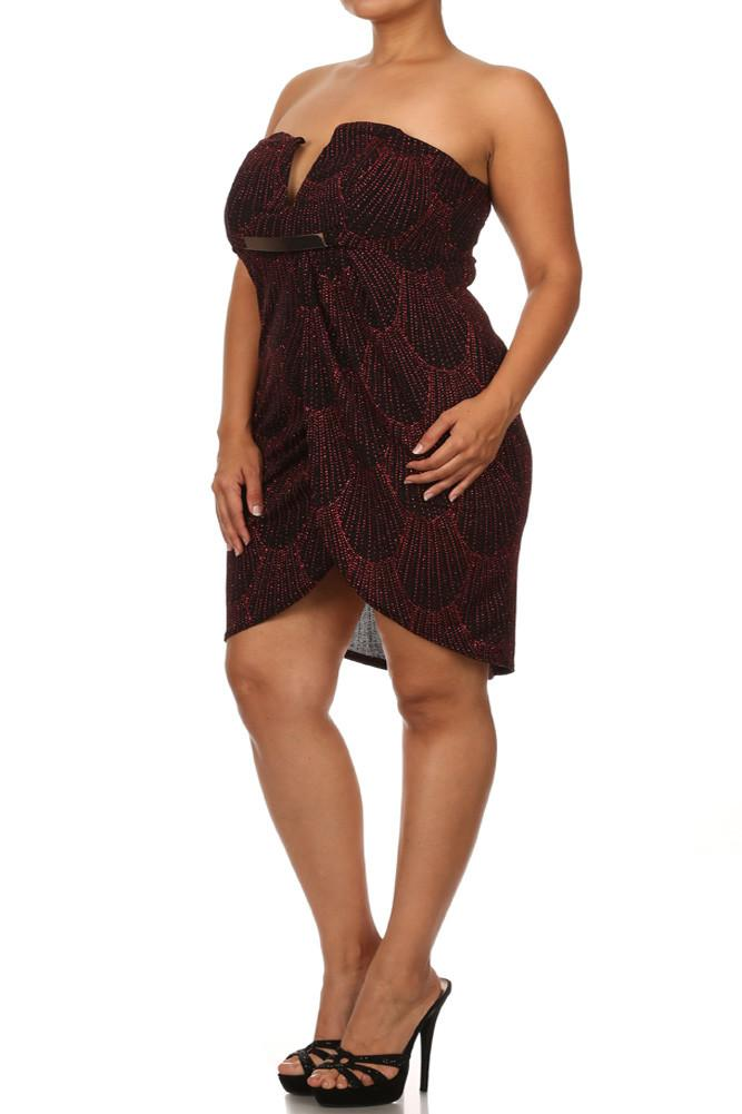 Plus Size Sparkling Plunging Neckline Red Dress