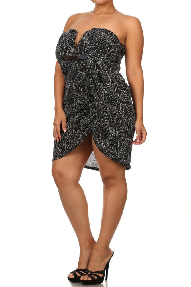 Plus Size Sparkling Plunging Neckline Silver Dress
