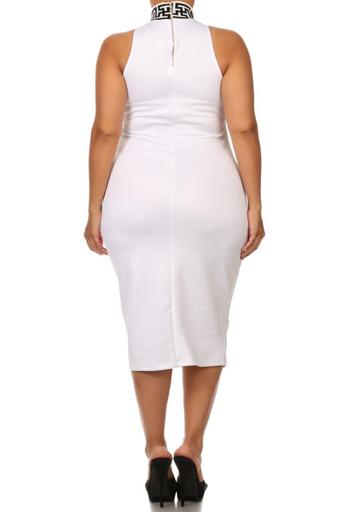 Plus Size Mod Maze Print High-Neck Midi White Dress