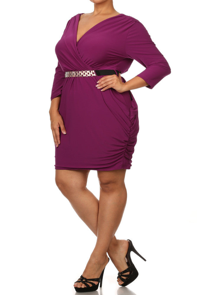 Plus Size Alluring Surplice Belted Ruched Purple Dress
