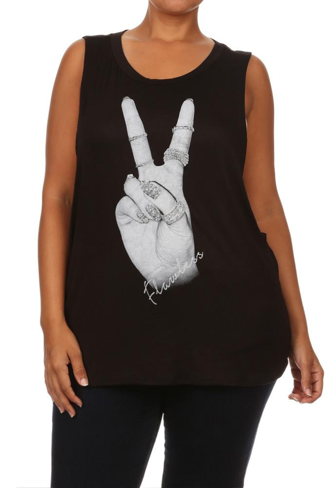 Plus Size For Peace Rhinestones Graphic Print Top