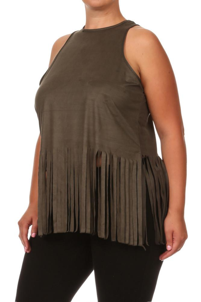 Plus Size Fringe Obsession Suede Olive Tank