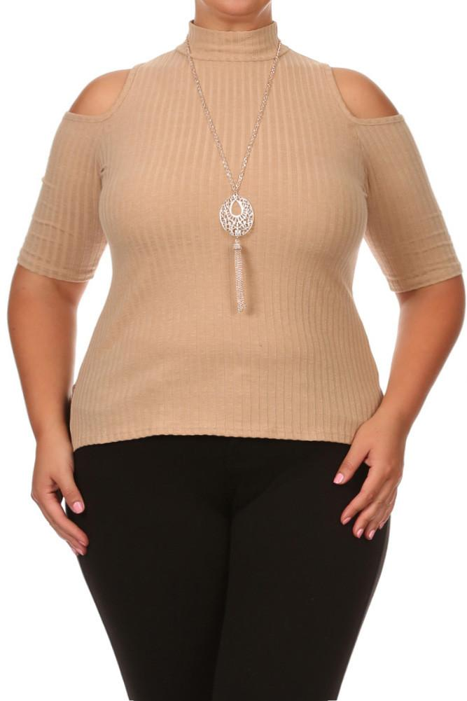 Plus Size Tasseled Necklace Ribbed Tan Tank [SALE]