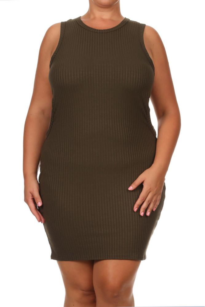Plus Size Sassy Cut Out Ribbed Mini Olive Dress