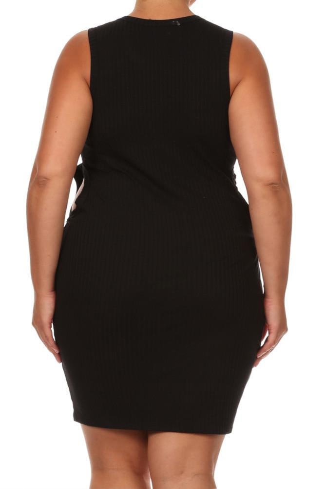 Plus Size Sassy Cut Out Ribbed Mini Black Dress