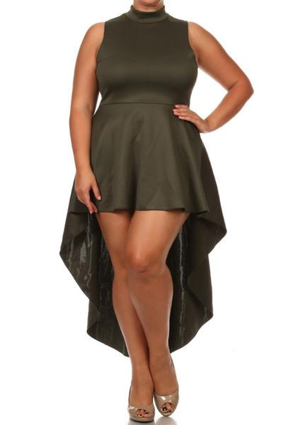 Plus Size Polished Dip Hem Dress